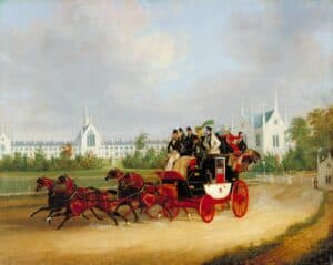 Picture of Tally-Ho Stage Coach passing Whittington College in Highgate