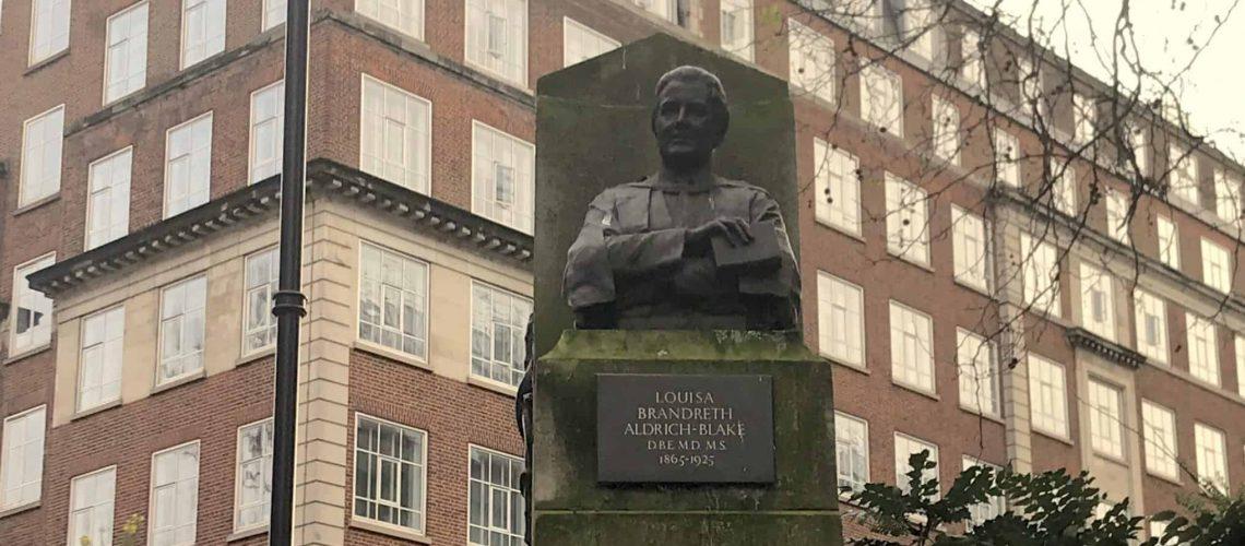 Photo of statue of Louisa Aldrich-Blake in Tavistock Square