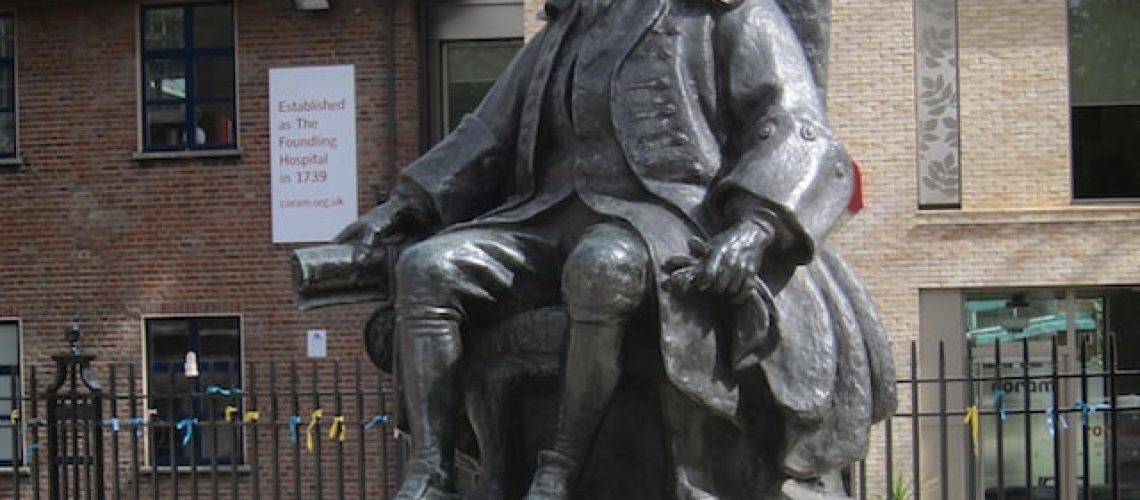 Statue of Thomas Coram, outside the Foundling Museum (c) David Brown, 2014